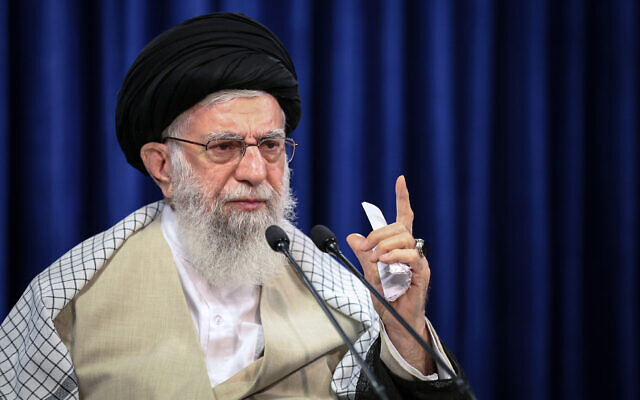 In this picture released by an official website of the Office of the Iranian Supreme Leader, Supreme Leader Ayatollah Ali Khamenei addresses the nation in a televised speech marking the Eid al-Adha holiday, in Tehran, Iran, July 31, 2020. (Office of the Iranian Supreme Leader via AP)