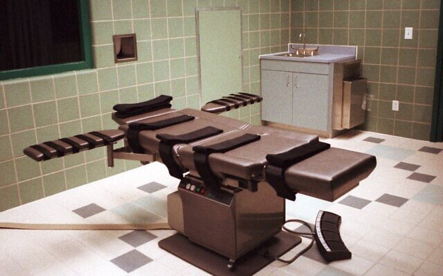 The death chamber at the US Penitentiary in Terre Haute, Indiana, shown in this April 1995 photo, is the only federal death chamber in the US and is equipped for lethal injection (AP Photo/Chuck Robinson)