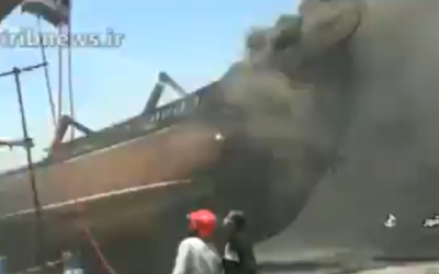 A screenshot from video of a fire on a ship at the Bushehr port in southern Iran, July 15, 2020. (Screen capture: Twitter)