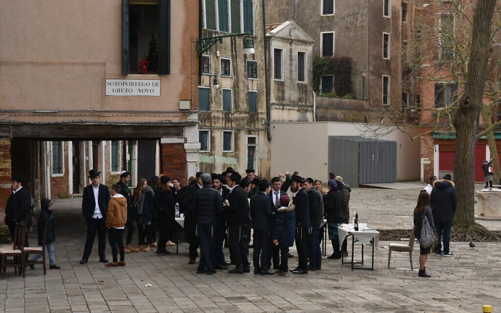 Orthodox Jews congregate in Venice's ancient Jewish ghetto. (Photo by Paolo Raccanelli)