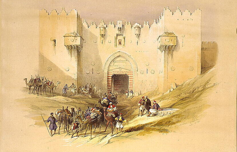 A lithograph of the Damascus Gate in Jerusalem, April 14, 1839, by artist David Roberts and lithographer Louis Haghe. (Library of Congress)