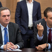 Then-transportation minister Israel Katz (L) and MK Miki Zohar during a Knesset committee meeting in Jerusalem, March 23, 2016.  (Yonatan Sindel/Flash90/File)