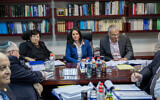 Then-justice minister Ayelet Shaked seen with then-chief justice Miriam Naor, then-Finance Minister Moshe Kahlon and members of the Judicial Appointments Committee at a meeting in Jerusalem, on February 22, 2017. (Yonatan Sindel/Flash90)