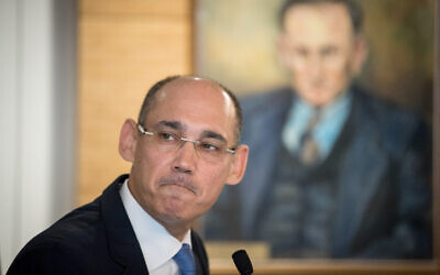 Governor of the Bank of Israel Amir Yaron attends a press conference on March 31, 2019. (Yonatan Sindel/Flash90)
