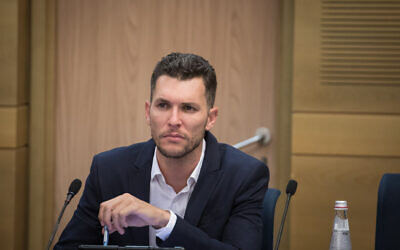 Yesh Atid MK Idan Roll attends a Knesset committee meeting on July 15, 2019. (Hadas Parush/Flash90)