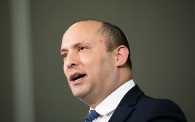 Then-defense minister Naftali Bennett delivers a statement to the media in Ariel, in the West Bank, January 26, 2020. (Sraya Diamant/Flash90)