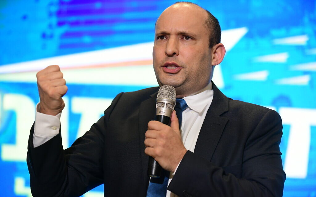 Then-defense minister Naftali Bennett at the Yamina campaign launch ahead of the general elections, on February 12, 2020. (Tomer Neuberg/Flash90)