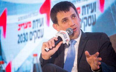 Shaul Meridor, head of the Finance Ministry's budget department, speaks at the Maariv newspaper conference in Herzliya on February 26, 2020. (Miriam Alster/Flash90)