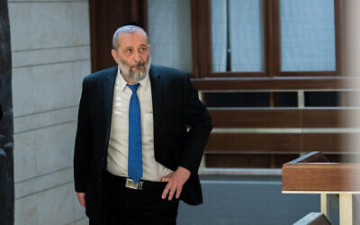 Interior Minister Aryeh Deri in the Knesset building, on March 3, 2020. (Yonatan Sindel/Flash90)