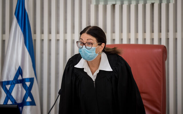 Supreme Court Chief Justice Esther Hayut at the Supreme Court in Jerusalem, on May 11, 2020. (Yonatan Sindel/Flash90)