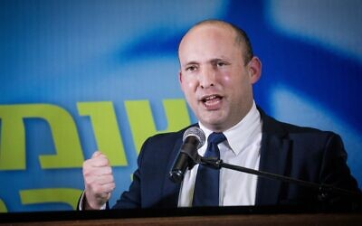 Yamina Party chairman Naftali Bennett at a press conference in Jerusalem, on May 14, 2020. (Yonatan Sindel/Flash90)