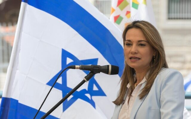 Yifat Shasha-Biton at a Housing Ministry ceremony in Jerusalem on May 18, 2020. (Olivier Fitoussi/Flash90)