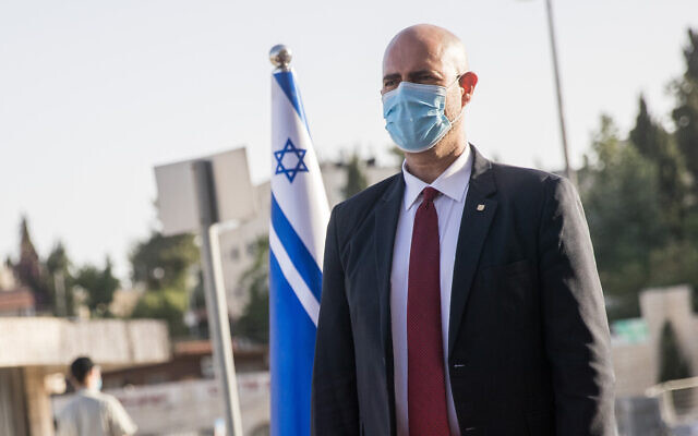 Amir Ohana at a Public Security Ministry changeover ceremony in Jerusalem on May 18, 2020. Yonatan Sindel/Flash90)