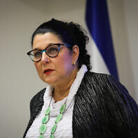 Prof. Siegal Sadetzki, Health Ministry director of public health, speaks during a press conference about the coronavirus COVID-19, at the Health Ministry in Jerusalem on May 31, 2020. (Flash90)