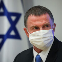 Health Minister Yuli Edelstein speaks during a press conference about the coronavirus at the Health Ministry in Jerusalem, on June 28, 2020. (Olivier Fitoussi/Flash90)