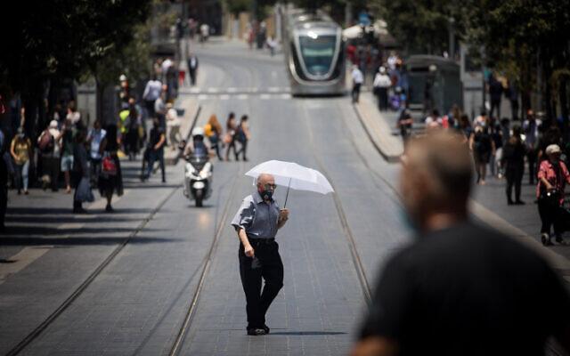Downtown Jerusalem on July 2, 2020. (Yonatan Sindel/Flash90)