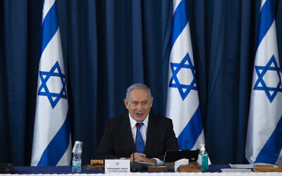 Prime Minister Benjamin Netanyahu attends the weekly cabinet meeting at the Foreign Ministry in Jerusalem, on July 5, 2020. (Amit Shabi/Pool/Flash90)