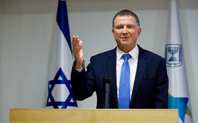 Health Minister Yuli Edelstein speaks during a press conference about the coronavirus at the Health Ministry in Jerusalem, July 6, 2020. (Olivier Fitoussi/Flash90)
