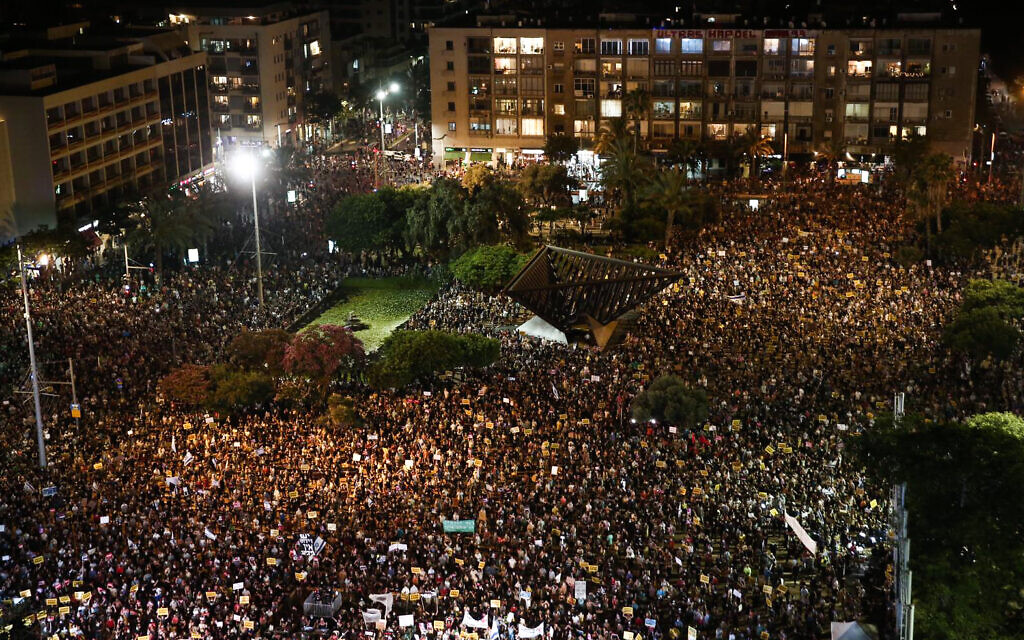 Israelis protest in Tel Aviv's Rabin Square against the government's economic policies during the coronavirus pandemic, July 11, 2020. (Miriam Alster/Flash90)