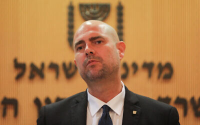 Public Security Minister Amir Ohana holds a press conference in Jerusalem, on July 15, 2020. (Flash90)