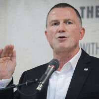 Health Minister Yuli Edelstein speaks during a press conference at Hadassah Hospital Ein Kerem in Jerusalem on July 15, 2020. (Yonatan Sindel/Flash90)