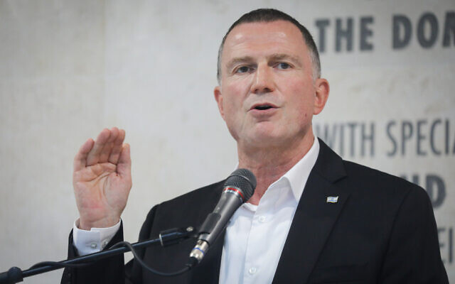 Health Minister Yuli Edelstein speaks during a press conference at Hadassah Hospital, Ein Kerem, in Jerusalem. on July 15, 2020. (Yonatan Sindel/Flash90)