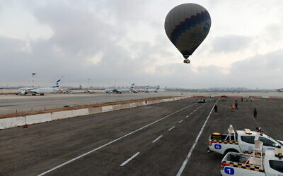 Hot air balloons take off from the Ben Gurion International Airport, near Tel Aviv on July 25, 2020 (Tomer Neuberg/Flash90)
