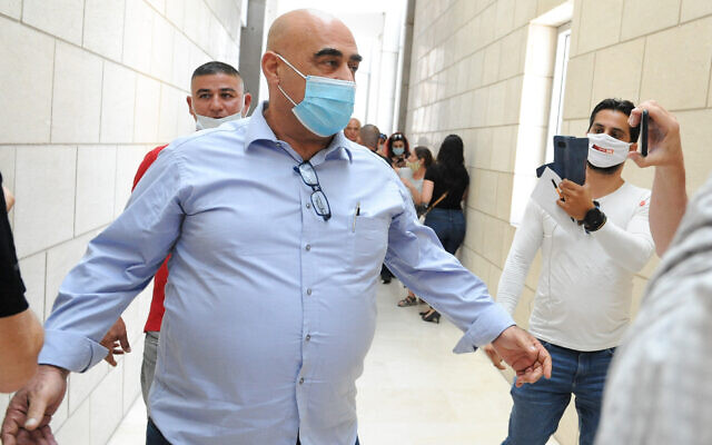 Salman Amar, the former mayor of Julis, is seen at the Haifa District Court on July 28, 2020. (Meir Vaknin/Flash90)