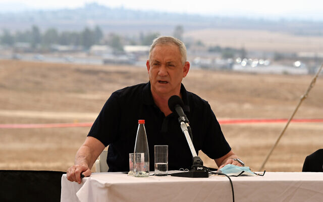 Defense Minister Benny Gantz visits the site of a proposed Military Intelligence base that will be constructed in southern Israel. (Ariel Hermoni/Defense Ministry)