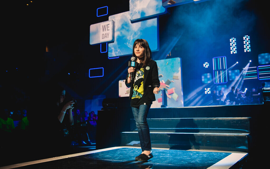 Hannah Alper onstage at a 2013 We Day event in Canada. (Courtesy)