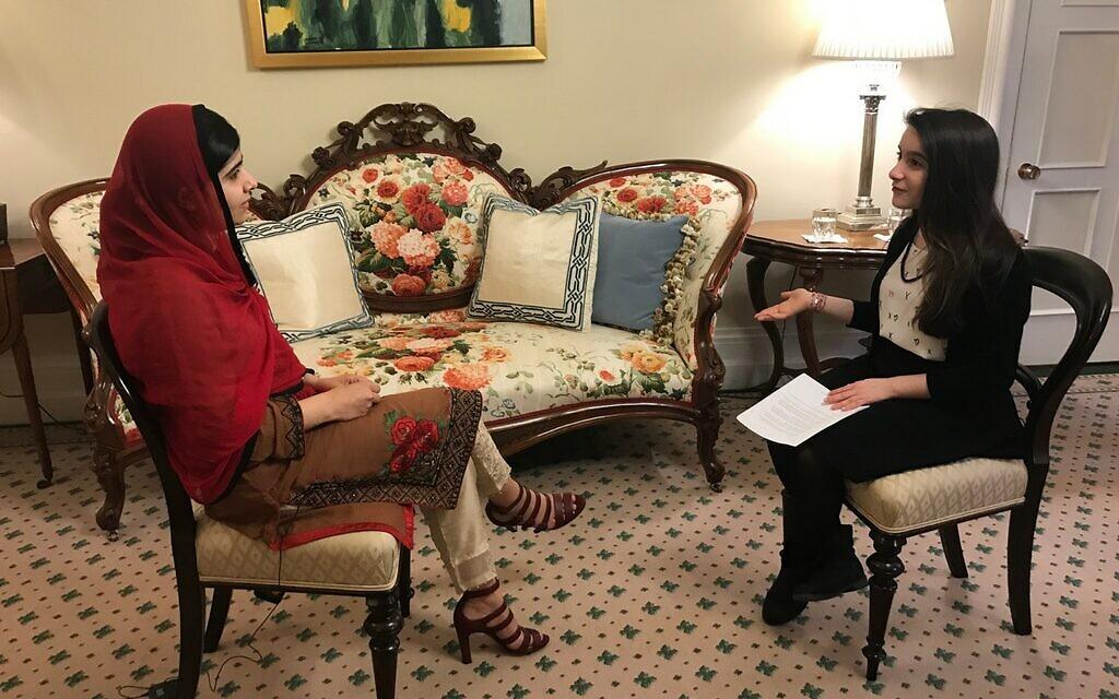 Hannah Alper, right, interviews Nobel laureate Malala Yousafzai in Ottawa, April 12, 2017. (Courtesy)