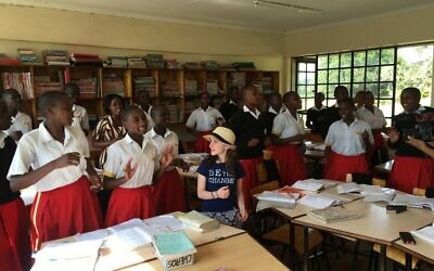 Hannah Alper with the 10th grade class at an all-girls secondary school in Kenya during a service trip with the organization Me to We, June 2016. (Courtesy)