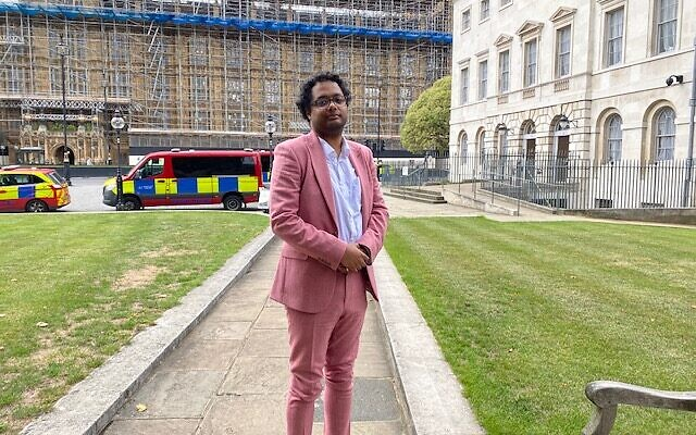 Stephen Bush, the new chairman for the British Board of Deputies' Commission on Racial Inclusivity, standing in front of the House of Commons in Westminster, July 15, 2020. (Jenni Frazer/ Times of Israel)