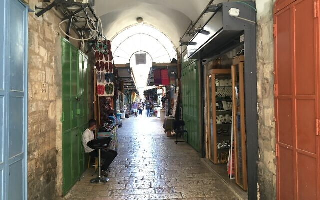 Empty streets in Jerusalem's Arab market during the coronavirus pandemic on Sunday, July 19, 2020 (Aaron Boxerman/Times of Israel)