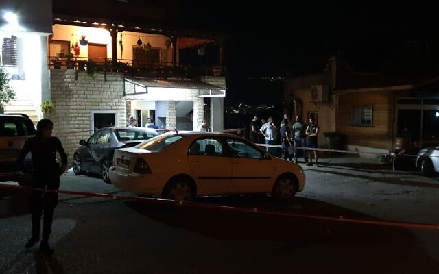 The scene where a man was shot dead and four were injured in the northern village of Ibtin, July 18, 2020 (Israel Police)