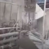 Screen capture from video at the scene of a factory explosion south of Tehran, Iran, July 7, 2020. (Mehr news agency)