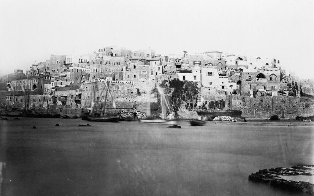 A photograph of the port city of Jaffa taken from the sea by P. Bergheim, circa 1860. (Library of Congress)