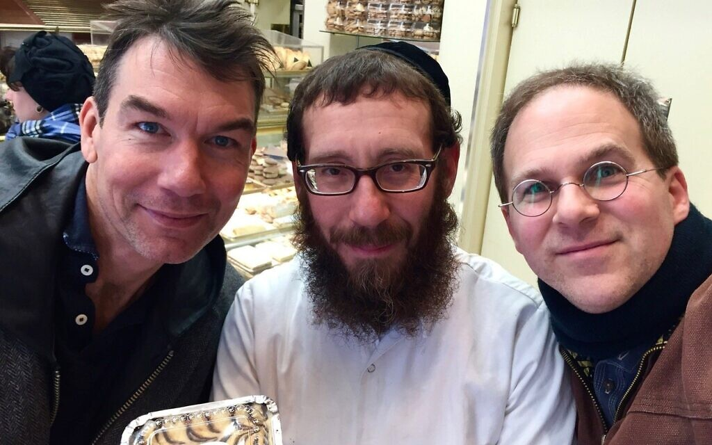 Hollywood actor Jerry O'Connell, Cheskies owner Cheskie Lebowitz, and O'Connell's old college classmate, filmmaker/photographer Ezra Soiferman, in 2016. (Ezra Soiferman/ www.EzraSoiferman.com)
