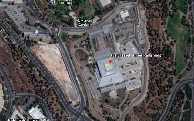 Screen capture of the Knesset building in Jerusalem as seen on Google Earth. (Google Earth)