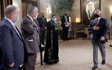 Jordanian King Abdullah II greets local notables during a meeting at the Al Husseiniya Palace near Amman on July 12, 2020. (kingabdullah.jo)