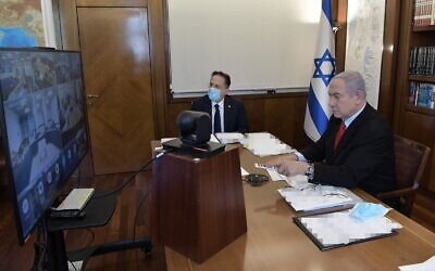 Prime Minister Benjamin Netanyahu at start of the weekly cabinet meeting, July 19, 2020 (GPO)