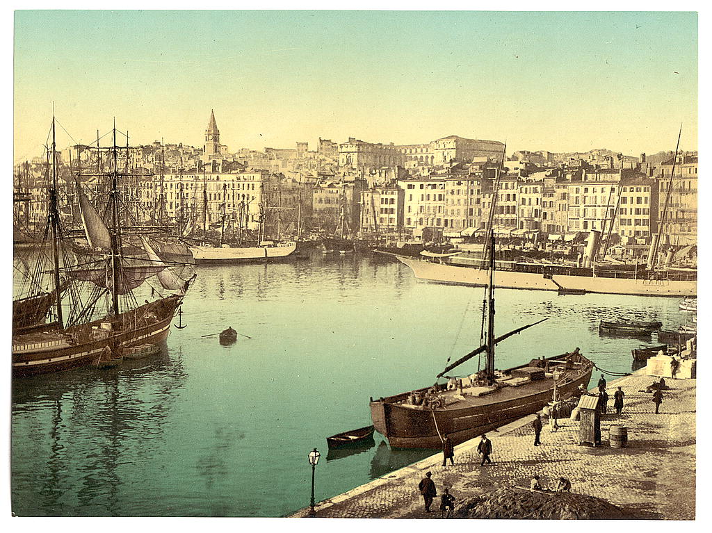 A rendering of the old Port of Marseilles with the Hotel Dieu, used as a hospital, in the background, circa 1890. (Library of Congress)