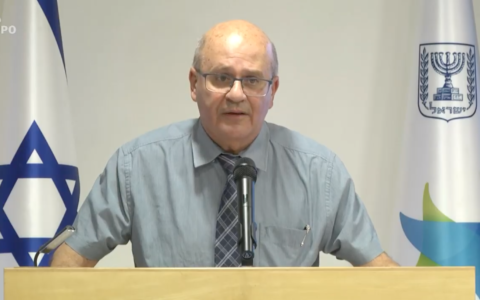 Health Ministry director general Chezy Levy speaks during a press conference at the Health Ministry in Jerusalem on July 13, 2020. (Screen capture/YouTube)