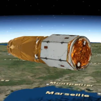 A digital rendering of Israel's Ofek-16 reconnaissance satellite in orbit around the Earth, which was released on July 14, 2020. (Defense Ministry)