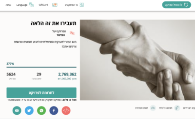 Hundreds of Israelis have donated millions of Shekels to this crowdfunding campaign to redistribute their government coronavirus stipends to the most needy. (Screenshot)