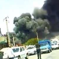 Footage of a fire at a factory near Tabrinz, Iran on July 19, 2020. (Screen capture/Twitter)