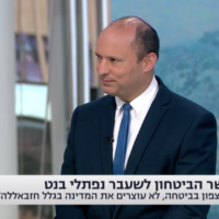 Yamina chairman Naftali Bennett is interviewed on Channel 13 on July 27, 2020. (Screen capture/Channel 13)
