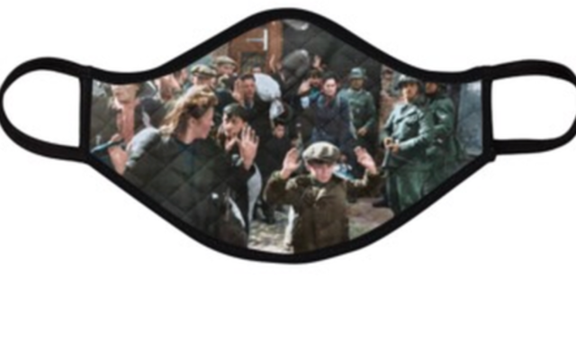 A screenshot of the webpage advertising a face mask emblazoned with a famous photo from the Holocaust. (Screenshot from www.HolocaustFaceMasks.com via JTA)