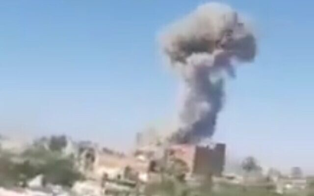 Screen capture from unverified video claiming to show an explosion during an attack at a checkpoint in the town of Bir al-Abd, in the northern Sinai Peninsula region of Egypt, July 21, 2020. (Twitter)