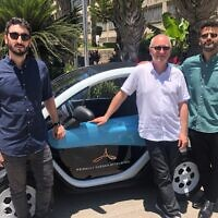 Slava Bronfman, Cybellum CEO, left to right, with Etienne Barbier, director at the Alliance Innovation Lab Tel Aviv and  Eldad Raziel, cybersecurity leader at the Alliance Innovation Lab Tel Aviv (Courtesy)
